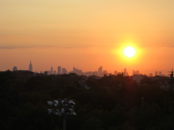 Manhattan skyline sunset US Open 2011