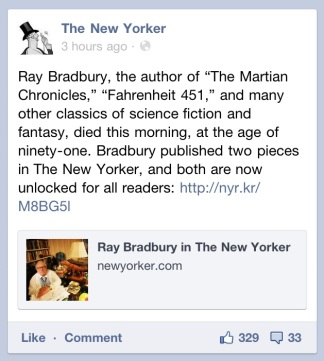 New Yorker Facebook Ray Bradbury